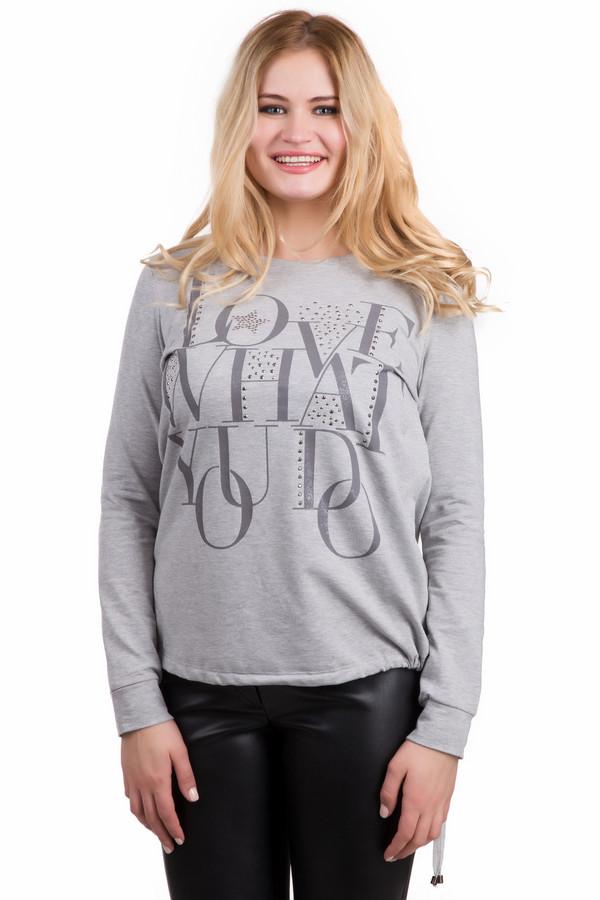 Пуловер ApanageПуловеры<br>Стильный пуловер Apanage серого цвета. Универсальная модель в молодежном стиле станет главным атрибутом образа для вечеринки и войдет в повседневный гардероб. Мотивационная буквенная надпись спереди оформлена стразами. Миниатюрная декоративная звездочка придает образу детскую непосредственность. Пуловер можно сочетать с низом в разных направлениях, регулируя объем сбоку.<br><br>Размер RU: 48<br>Пол: Женский<br>Возраст: Взрослый<br>Материал: эластан 5%, вискоза 33%, полиэстер 62%<br>Цвет: Серый