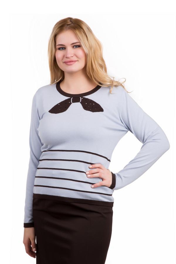 Пуловер Eugen KleinПуловеры<br>Стильный пуловер Eugen Klein с длинным рукавом. Тонкие горизонтальные линии контрастного коричневого цвета подчеркивают талию. Оригинальный бант в области горловины, декорированный стразами, придает женственности. Нежный джемпер голубого цвета прослужит ни один сезон, благодаря наличию в составе качественного волокна модала. Данная модель создает романтичное весеннее настроение.<br><br>Размер RU: 48<br>Пол: Женский<br>Возраст: Взрослый<br>Материал: эластан 14%, полиакрил 40%, модал 46%<br>Цвет: Коричневый