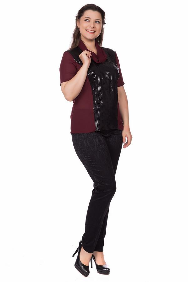 Блузa SteilmannБлузы<br>Блузa Steilmann бордово-черная. Восхитительная модель для уверенных в себе женщин. Лиф отделан тканью с пайетками. Легкий ниспадающий воротник и короткие элегантные рукава придают дополнительного очарования данной модели. Сбоку блуза имеет застежку – потайную молнию. Состав: 100%-ный полиэстер. Летняя модель отлично сочетается с классическими брюками и юбками, а также вещами, нейтральными по своему стилю.<br><br>Размер RU: 52<br>Пол: Женский<br>Возраст: Взрослый<br>Материал: полиэстер 100%<br>Цвет: Чёрный