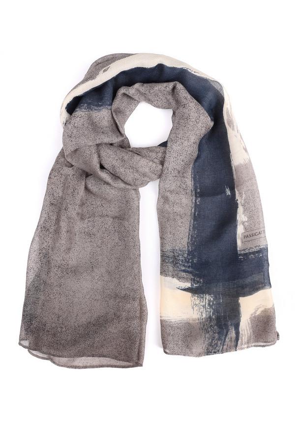 Шарф PassigattiШарфы<br>Шарф Passigatti абстрактной расцветки. Пастельный размытый узор – всегда на пике популярности. Такие цвета (серый, белый, синий) делают предлагаемый шарфик очень сочетаемым с прочими вещами вашего гардероба. Состав: 100%-ный полиэстер. Носить его вы сможете весной и осенью с пальто и куртками, полупальто.<br><br>Размер RU: один размер<br>Пол: Женский<br>Возраст: Взрослый<br>Материал: полиэстер 100%<br>Цвет: Разноцветный