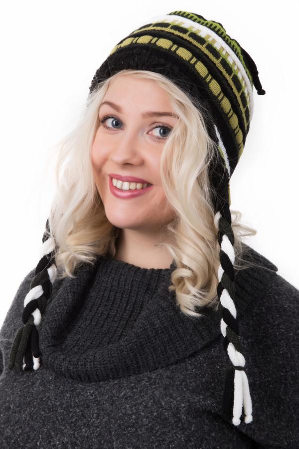 Шапка WegenerШапки<br>Шапка Wegener разноцветная. Модель необычна и по своей форме, и по расцветке. Сочетание белого, желтого, зеленого и черного цветов делают данную модель прекрасно комбинируемой с одеждой различных оттенков. Шапка отлично прикрывает уши, она украшена косичками по бокам и кисточкой сзади. Состав: шерсть плюс полиамид.<br><br>Размер RU: один размер<br>Пол: Женский<br>Возраст: Взрослый<br>Материал: шерсть 30%, полиамид 70%<br>Цвет: Разноцветный