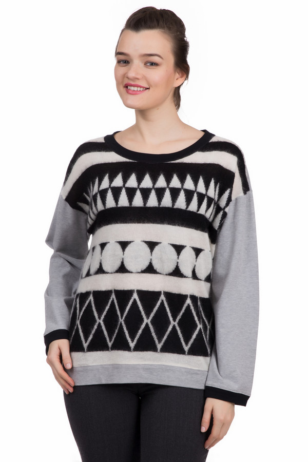 Пуловер Marc CainПуловеры<br>Пуловер Marc Cain серо-черно-белый. Изделия оверсайз уже несколько сезонов на пике популярности, и неудивительно: такой крой подчеркивает вашу хрупкость и изящество. В демисезонном пуловере из хлопка вы будете чувствовать себя очень уютно, ведь касание кожи к натуральной ткани всегда приятно.<br><br>Размер RU: 44<br>Пол: Женский<br>Возраст: Взрослый<br>Материал: хлопок 100%<br>Цвет: Разноцветный