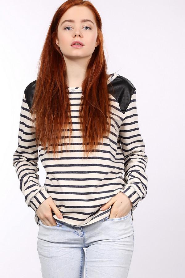 Пуловер Tom TailorПуловеры<br>Пуловер Tom Tailor женский в полоску. Этот бело-синий рисунок ассоциируется с морем. Необычные вставки на плечах из эко-кожи выглядят просто безупречно. Манжеты выполнены из ткани с вертикальными полосами. Модель из 100%-ного хлопка не только хорошо выглядит, но и комфортна к телу. В таком пуловере будет очень удобно весной и осенью. Демисезонное изделие.<br><br>Размер RU: 40-42<br>Пол: Женский<br>Возраст: Взрослый<br>Материал: хлопок 100%<br>Цвет: Синий