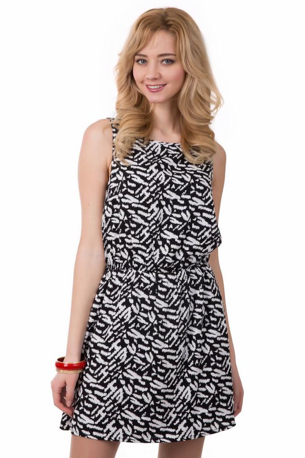 Платье Tom TailorПлатья<br>Платье Tom Tailor бело-черное. Легкое летнее платье выполнено в виде сарафанчика. По талии продета резинка, поэтому платье подходит для любой фигуры. По спинке до талии в виде декоративной детали необычно вшита молния, и это придает фасону особую изюминку. Модель из 100%-ной вискозы В летний зной вы будете чувствовать себя очень комфортно в таком платье.<br><br>Размер RU: 42-44<br>Пол: Женский<br>Возраст: Взрослый<br>Материал: вискоза 100%<br>Цвет: Белый