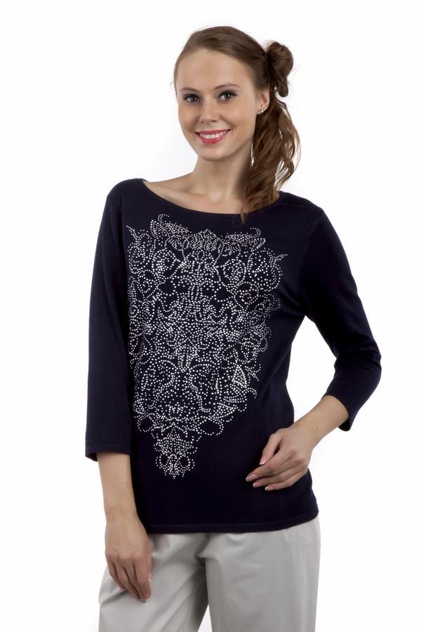 Пуловер Gerry WeberПуловеры<br>Оригинальный, стильный пуловер с рукавами три четверти. Приятная к телу ткань, сочетающая в себе вискозу и полиамид. Пуловер хорошо тянется, покрой слегка приталенный. Доступен в двух расцветках – темно синем и голубом. Спереди крупный абстрактный орнамент из мелких страз. Может хорошо сочетаться с любым низом, как  юбками , так и  брюками .<br><br>Размер RU: 44<br>Пол: Женский<br>Возраст: Взрослый<br>Материал: эластан 3%, полиамид 15%, вискоза 82%<br>Цвет: Чёрный