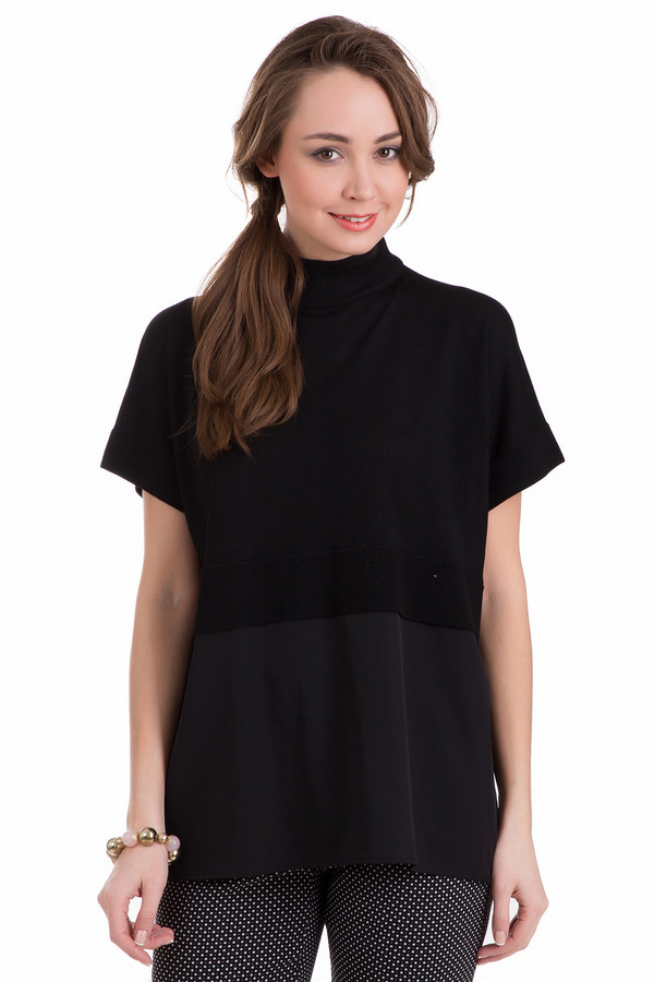 Пуловер Just ValeriПуловеры<br>Оригинальный женский пуловер Just Valeri, сочетающий черный и серый цвета. Модель полностью изготовлена из шерсти мерино. Больше всего подходит для носки весной и осенью. Пуловер с коротким рукавом и воротником-стойкой, дополнен отрезной кокеткой чуть выше линии талии. Верхняя часть - черная, а нижняя - темно-серая.<br><br>Размер RU: 46<br>Пол: Женский<br>Возраст: Взрослый<br>Материал: шерсть мерино 100%<br>Цвет: Чёрный