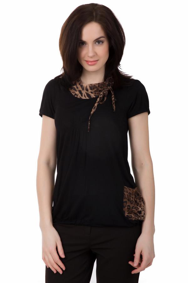 Футболка PezzoФутболки<br>Необычная женская футболка Pezzo черного цвета с коричневыми вставками будет притягивать к себе взгляды. У футболки короткие рукава, карман выполнен из того же материала, но с леопардовым принтом. Воротник-хомут выполнен из такого же материала, что и карман. Изготовлен он из спандекса и вискозы. В летний сезон она будет удобнее всего.