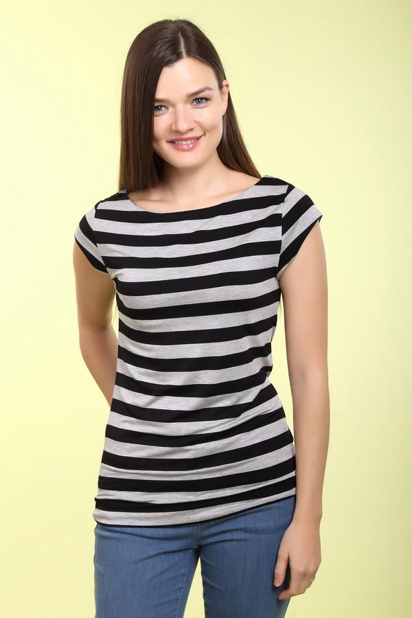 Футболка PezzoФутболки<br>Полосатая женская футболка Pezzo с горизонтальными черными и белыми полосами. Модель чуть приталена, дополнена неглубоким, но широким вырезом горловины, который открывает практически полностью ключицы. Рукава у футболки короткие. Изготовлена эта модель из сочетания вискозы и эластана. В летний сезон в такой футболке будет очень комфортно.<br><br>Размер RU: 50<br>Пол: Женский<br>Возраст: Взрослый<br>Материал: эластан 5%, вискоза 95%<br>Цвет: Серый