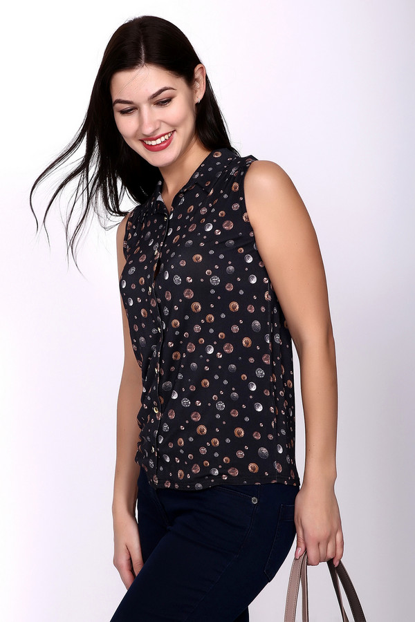 Блузa Just ValeriБлузы<br>Элегантная женская блуза Just Valeri, сочетающая черный, серебристый и медный цвета. На черном фоне изображения монет разного диаметра. Блуза без рукавов, приталенная и присобранная в районе лопаток, с отложным воротничком. Будет отлично смотреться как с брюками, джинсами, так и юбками. Материал изделия - вискоза и спандекс. Летом в ней наиболее комфортно.<br><br>Размер RU: 42<br>Пол: Женский<br>Возраст: Взрослый<br>Материал: вискоза 95%, спандекс 5%<br>Цвет: Разноцветный