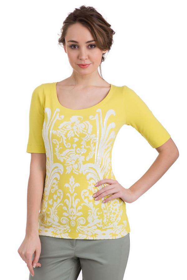 Футболка Just ValeriФутболки<br>Женская футболка Just Valeri яично-желтого цвета с белым флористическим узором. Дополнительно украшена вышивкой пайетками. Рукава у футболки средней длины, покрой прямой, горловина округлая, но не очень глубокая. В состав изделия входит хлопок и спандекс. Лучшим выбором эта футболка станет в летний период.