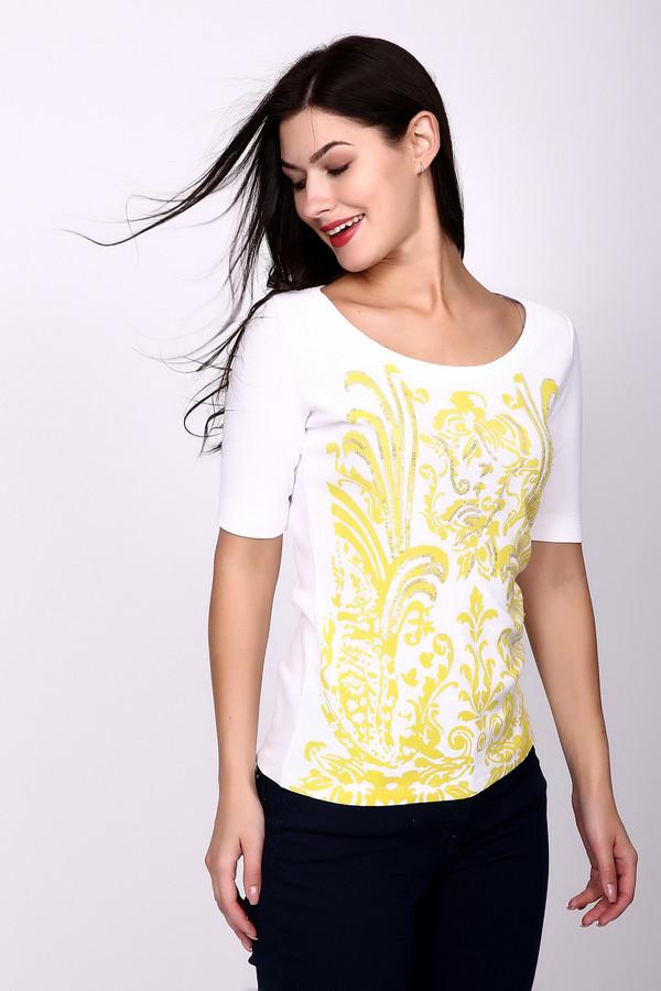 Футболка Just ValeriФутболки<br>Женская футболка Just Valeri белого цвета - отличный выбор для теплого времени года. Украшает ее спереди узор яркого желтого цвета с флористическими мотивами и вышивкой с блестящими пайетками. Вырез декольте округлый, неглубокий, рукава средней длины, покрой прямой. Материал футболки - хлопок и спандекс. Летом такая футболка будет хорошим выбором.<br><br>Размер RU: 50<br>Пол: Женский<br>Возраст: Взрослый<br>Материал: хлопок 95%, спандекс 5%<br>Цвет: Жёлтый