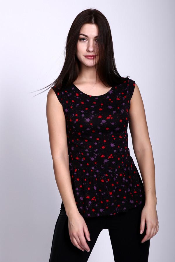 Футболка Just ValeriФутболки<br>Необычная женская футболка Just Valeri черного цвета с красными и фиолетовыми кляксами разного размера. Приталенная до линии пупка футболка, без рукавов, и отрезная ниже, с басочкой в мелкую складку. Отлично подойдет для ежедневной носки. Изделие выполнено из вискозы и спандекса. В летний сезон в ней будет комфортнее всего.<br><br>Размер RU: 48<br>Пол: Женский<br>Возраст: Взрослый<br>Материал: вискоза 95%, спандекс 5%<br>Цвет: Разноцветный