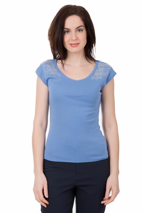 Футболка PezzoФутболки<br>Светло-синий оттенок футболки Pezzo идеально подойдёт для прогулки тёплым летним вечером. Изделие средней длины, с небольшим круглым вырезом, слегка заужено в области талии. Рукава короткие, а плечи футболки дополнительно украшены пайетками серебряного цвета. Футболка универсальна – она сочетается с одеждой любого цвета и фасона. Состав – 100% хлопок.<br><br>Размер RU: 46<br>Пол: Женский<br>Возраст: Взрослый<br>Материал: хлопок 100%<br>Цвет: Синий