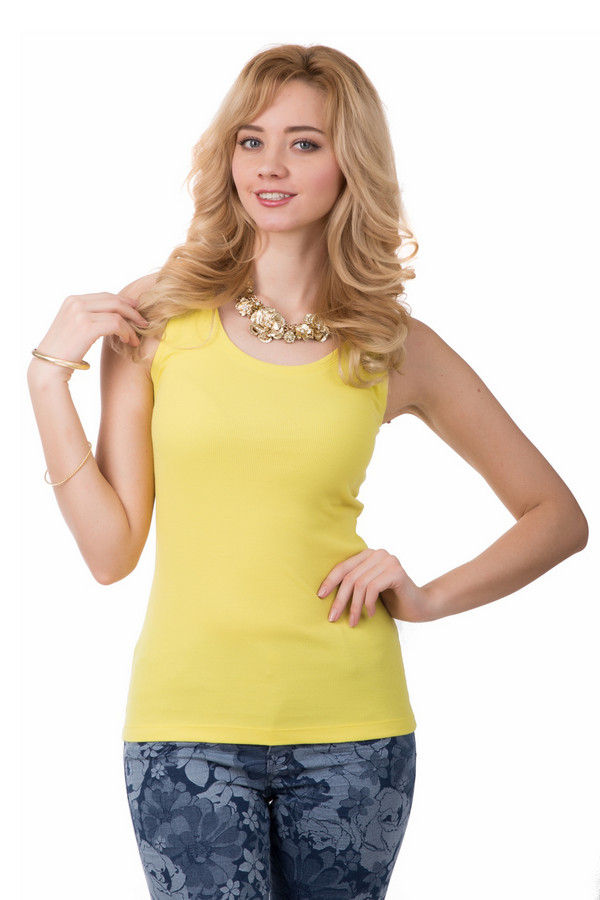 Топ Just ValeriТопы<br>Топ от Just Valery жёлтого цвета будет незаменимой вещью в Вашем летнем гардеробе. Этот классический топ подойдет под любую одежду и идеально подходит под любой стиль – начиная от спортивного и заканчивая стилем casual. Данный топ пошит из натуральных тканей – он на 95% состоит из хлопка, поэтому он приятный на ощупь и не сковывает движения. Идеально подходит для ежедневной носки. Доступен в разных цветах.<br><br>Размер RU: 48<br>Пол: Женский<br>Возраст: Взрослый<br>Материал: хлопок 95%, спандекс 5%<br>Цвет: Жёлтый