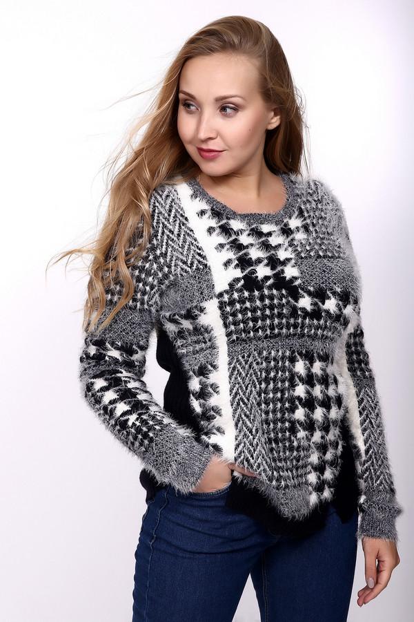 Пуловер OuiПуловеры<br>Зима и холода не страшны с этим пуловером от Oui. Пушистая текстура согреет любого даже самого заядлого мерзляка. Сзади пуловер черного цвета, а спереди – серо-белый. Перед изделия и рукава украшены различными рисунками. По бокам, внизу есть небольшие вырезы, а рукава пуловера снизу на резинках. Состав – 40% полиамид, 60% - полиакрил<br><br>Размер RU: 50<br>Пол: Женский<br>Возраст: Взрослый<br>Материал: полиамид 40%, полиакрил 60%<br>Цвет: Разноцветный