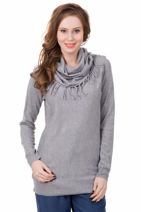 Пуловер TaifunПуловеры<br>Сдержанный стиль с необычными элементами – так можно описать данный пуловер от Taifun. Выполнен в сером цвете, слегка удлинен, покрой прямой. Дополнительным украшением служит воротник, сделанный в виде шарфа. Идеален в холодную погоду. Состав - 30% полиэстер, 23% полиамид, 40% вискоза, 7% шерсть.<br><br>Размер RU: 44<br>Пол: Женский<br>Возраст: Взрослый<br>Материал: полиэстер 30%, полиамид 23%, вискоза 40%, шерсть 7%<br>Цвет: Серый