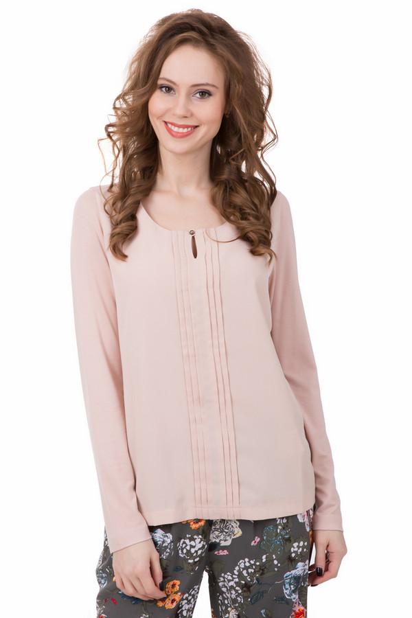 Блузa TaifunБлузы<br>Простота и гармония – так выглядит блуза от Taifun. Бежевый цвет с розовым отливом придаст вашему образу нежности. Блуза слегка удлиненная, прямого покроя. Спереди украшена аккуратными сборками. Есть маленький вырез, который застегивается на красивую пуговичку. Подойдет как под классический стиль, так и под стиль casual. Состав – 95% вискоза, 5% - эластан.<br><br>Размер RU: 44<br>Пол: Женский<br>Возраст: Взрослый<br>Материал: эластан 5%, вискоза 95%<br>Цвет: Бежевый