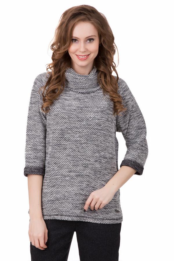 Пуловер TaifunПуловеры<br>Стильный пуловер от Taifun удачно дополнит Ваш образ, несмотря на всю простоту. Сделан диагональной мелкой вязкой чёрного и серого цвета. Слегка удлинен, покрой прямой. Оригинальным дополнение к простому стилю является широкий воротник, сделанный в том же стиле. Снизу есть декоративная строчка, а сбоку маленькое украшение с названием бренда. Состав - 20% полиэстер, 40% хлопок, 40% полиакрил.<br><br>Размер RU: 42<br>Пол: Женский<br>Возраст: Взрослый<br>Материал: полиэстер 20%, хлопок 40%, полиакрил 40%<br>Цвет: Серый