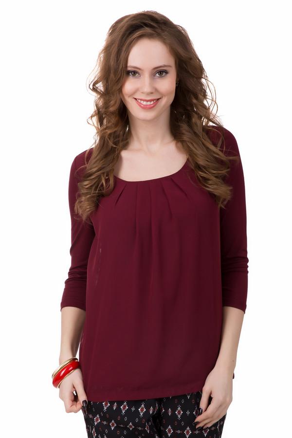 Блузa TaifunБлузы<br>Богатый бордовый цвет блузы от Taifun станет отличным дополнение образа в стиле casual. Блуза мягкая на ощупь, лёгкая, свободного покроя. Рукав – ?. Изделие имеет широкий круглый вырез. Дополнительно украшена сборками ткани у горла. Идеально подойдет для весенне-осеннего сезона. Хорошо будет смотреться как с брюками, так и юбками. Состав – 95% вискоза, 5% эластан.<br><br>Размер RU: 42<br>Пол: Женский<br>Возраст: Взрослый<br>Материал: эластан 5%, вискоза 95%<br>Цвет: Бордовый