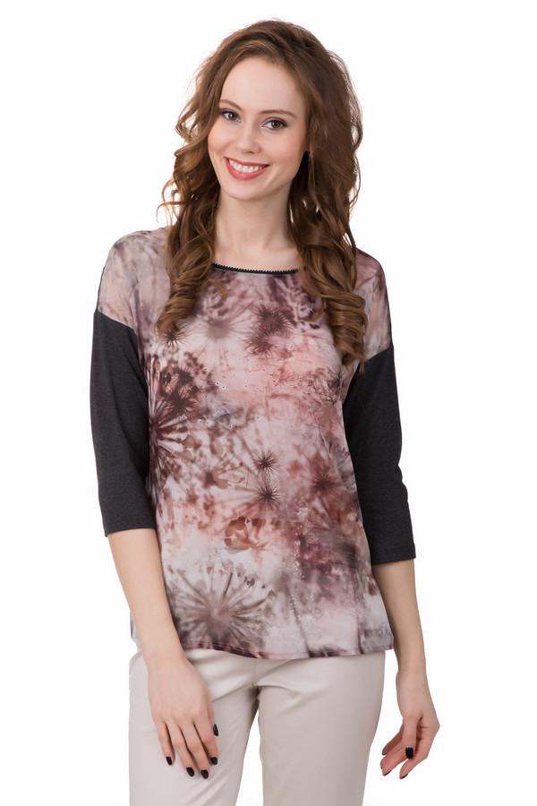 Блузa TaifunБлузы<br>Необычная блуза от Taifun покорит сердце любой! Тёмная сзади и яркая спереди – такой необычный дизайнерский ход обязательно выделит Вас из толпы. Изделие выполнено в коричневом цвете, но вся передняя часть украшена необычным цветочным рисунком в бежевых и розовых тонах. Сзади дополнительным украшением служит маленькая дизайнерская пуговица. Состав – 92% вискоза, 8% - эластан.<br><br>Размер RU: 48<br>Пол: Женский<br>Возраст: Взрослый<br>Материал: эластан 8%, вискоза 92%<br>Цвет: Разноцветный