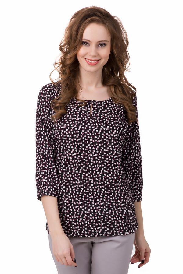 Блузa TaifunБлузы<br>Надоела классика и хочется чего-то необычного? Блуза от Taifun обязательно поможет в данном случае. Блуза выполнена в чёрном цвете, рукав – ?, слегка удлинённая, свободного покроя. Но она дополнена оригинальным принтом – мелкими кругами белого, розового и бордового цвета. Ими «усыпано» всё изделие. Кроме того, спереди есть небольшой вырез, который застёгивается на пуговицу. Состав – 95% вискоза, 5% эластан.<br><br>Размер RU: 44<br>Пол: Женский<br>Возраст: Взрослый<br>Материал: эластан 5%, вискоза 95%<br>Цвет: Белый