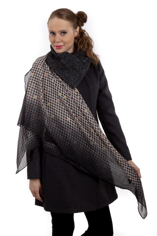 Платок CodelloПлатки<br>Модный женский шарф от бренда Codello. Этот шарф изготовлен из 100% полиэстера. Изделие представлено в градиенте от черного к белому, а белая его часть дополнена принтом ломанной клетки черного цвета, с вкраплением оранжевого, бардового, желтого и сиреневого цвета.<br><br>Размер RU: один размер<br>Пол: Женский<br>Возраст: Взрослый<br>Материал: полиэстер 100%<br>Цвет: Разноцветный