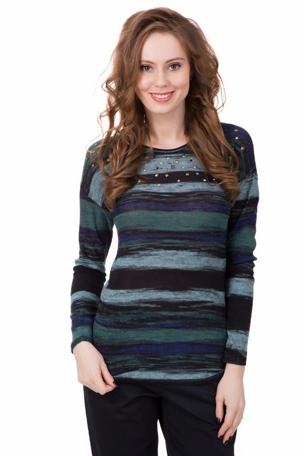 Пуловер PezzoПуловеры<br>«Звёздная ночь» Ван Гога? Лучше – пуловер от Pezzo. Глядя на это изделие, действительно вспоминаешь известную картину великого художника. Те же цвета – синий, зелёный, черный, и даже похожий рисунок в виде линий разводов. Дополнительно пуловер украшен декоративными камнями золотого и серебряного цвета, которые напоминают звёзды. Состав - 30% хлопок, 53% вискоза, 17% лен.<br><br>Размер RU: 46<br>Пол: Женский<br>Возраст: Взрослый<br>Материал: хлопок 30%, вискоза 53%, лен 17%<br>Цвет: Разноцветный