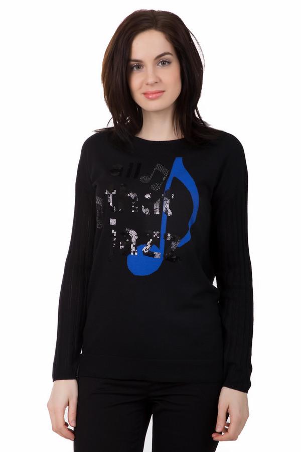 Пуловер PezzoПуловеры<br>Этот пуловер от Pezzo обязательно придется по вкусу настоящим музыкантам. Изделие чёрного цвета, силуэт свободный. Рукав длинный. Спереди пуловера есть большой рисунок синего цвета в виде ноты. Также дополнительно есть рисунки из пайеток в виде других нот. Посередине есть надпись из пайеток «that jazz». Состав – 70% вискоза, 30% нейлон.<br><br>Размер RU: 52<br>Пол: Женский<br>Возраст: Взрослый<br>Материал: вискоза 70%, нейлон 30%<br>Цвет: Синий