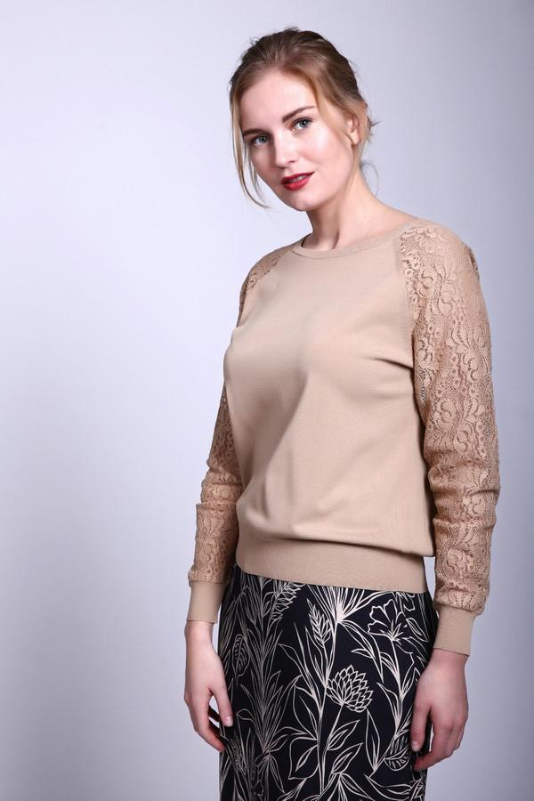 Пуловер PezzoПуловеры<br>Пуловер бежевый от Pezzo. Данный пуловер сочетает в себе строгость и нежность. Сделан он в бежевом цвете, не облегающий, вырез небольшой. Но украшением этого изделия служат длинные ажурные рукава из полупрозрачной ткани. Сзади пуловер слегка длиннее передней части. Состав – 63% вискоза, 37% - нейлон.<br><br>Размер RU: 52<br>Пол: Женский<br>Возраст: Взрослый<br>Материал: вискоза 63%, нейлон 37%<br>Цвет: Бежевый