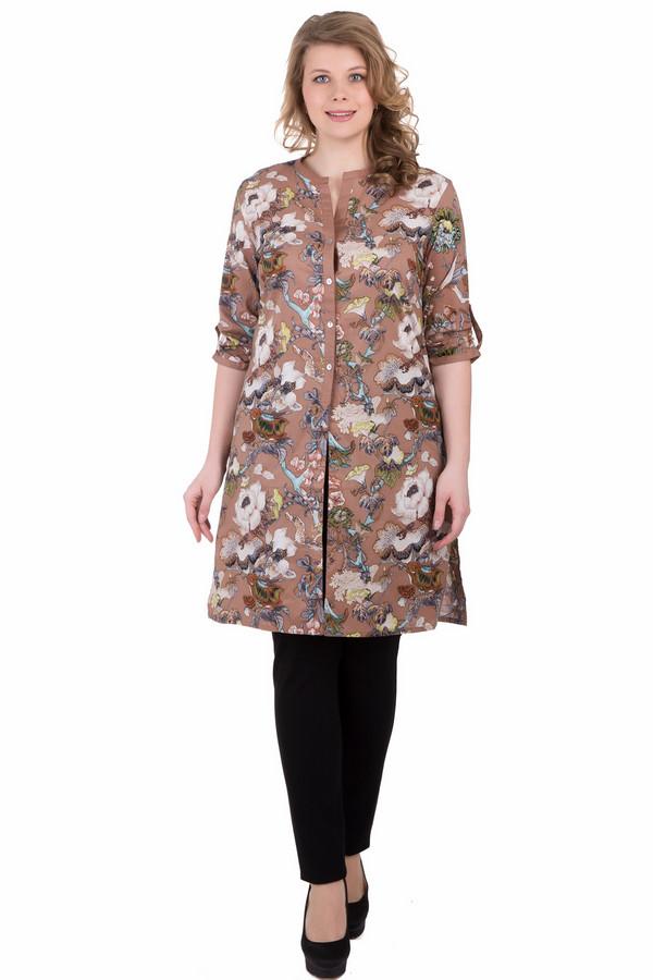 Блузa PezzoБлузы<br>Удлиненная блуза Pezzo свободного покроя прекрасно драпирует возможные лишние формы. Пестрая цветастая расцветка выдаст ваше неукротимое жизнелюбие. Отличный летний вариант на все случаи жизни. Пережить жару летних дней поможет 100% хлопок, который холодит и дарит приятные тактильные ощущения. Изделие дополнено пуговичками на рукавах, которые позволяют варьировать длину от 3\4 до классического длинного рукава.<br><br>Размер RU: 44<br>Пол: Женский<br>Возраст: Взрослый<br>Материал: хлопок 100%<br>Цвет: Разноцветный
