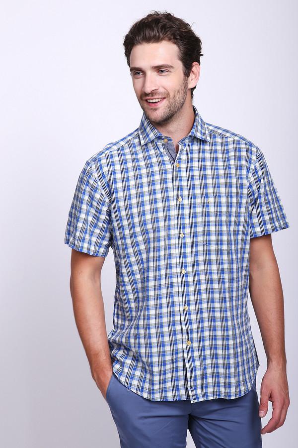 Мужские рубашки с коротким рукавом Just ValeriКороткий рукав<br>Рубашка с коротким рукавом Just Valeri в клетку разноцветная. Белый, желтый и синий в этом рисунке выглядят очень гармонично и практично. Рубашка с отложным воротничком и нагрудным карманчиком – изделие, необходимое в гардеробе настоящего мужчины. Сочетание хлопка и льна – то, что нужно для стильной летней вещи. Рубашка превосходно комбинируется с брюками и джинсами, как деловыми, так и более свободными по стилю.