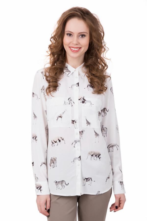 Блузa PezzoБлузы<br>Необычная и интересная блуза Pezzo содержит в своем составе только вискозу. На белом фоне ткани – ненавязчивый принт с различными экзотическими зверушками черного и бежевого цвета. Модель дополнена воротничком-гармошкой. Для тех, кто не боится выглядеть фантазеркой и большой оригиналкой.<br><br>Размер RU: 46<br>Пол: Женский<br>Возраст: Взрослый<br>Материал: вискоза 100%<br>Цвет: Разноцветный