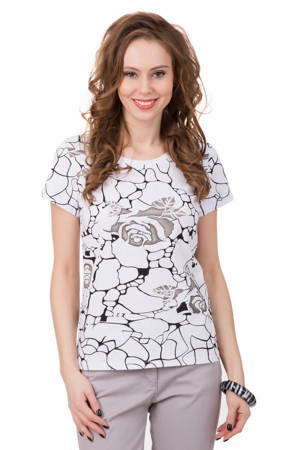 Футболка PezzoФутболки<br>Нежная футболка Pezzo с романтичным принтом. Для мечтательных женщин, которые любят загадочность и притягательность. Элементы принта украшены стразами, что придает футболке праздничности и яркости. Состав ткани на 95% состоит из хлопка, что обеспечивает комфортность носки в теплое время года.<br><br>Размер RU: 44<br>Пол: Женский<br>Возраст: Взрослый<br>Материал: хлопок 95%, спандекс 5%<br>Цвет: Разноцветный