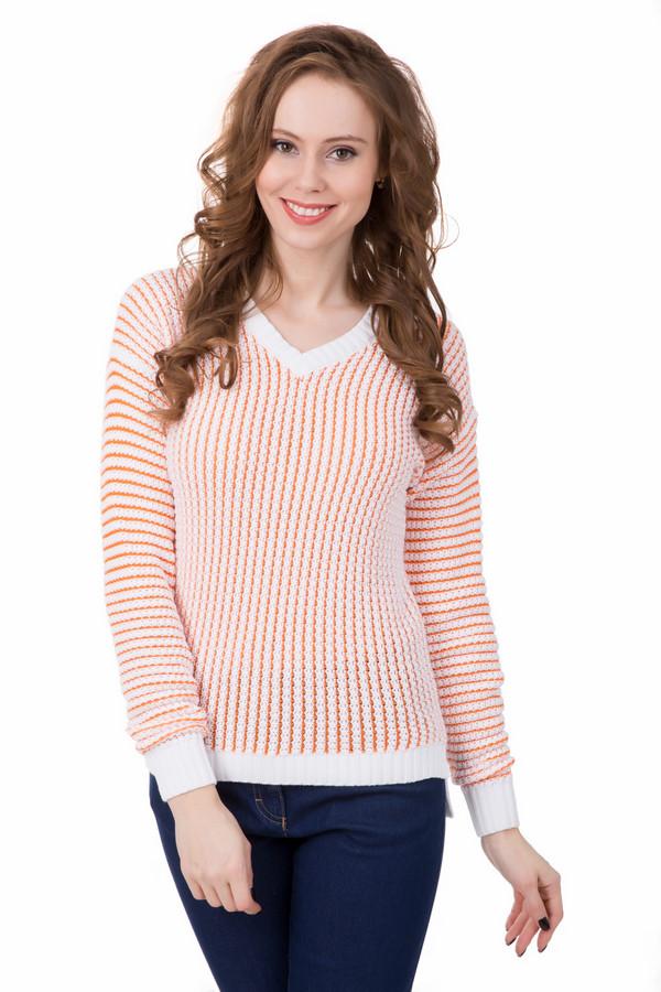 Пуловер PezzoПуловеры<br>Яркий пуловер Pezzo незаменимая вещь в демисезонную погоду. Мелкая вязка и оригинальная оранжевая полоска придадут вашему образу уюта и оригинальности. Натуральный состав нити позволяет коже дышать и чувствовать себя комфортно в любую погоду. V-образный вырез отлично сочетается с рубашками и блузами.<br><br>Размер RU: 44<br>Пол: Женский<br>Возраст: Взрослый<br>Материал: хлопок 85%, вискоза 15%<br>Цвет: Оранжевый