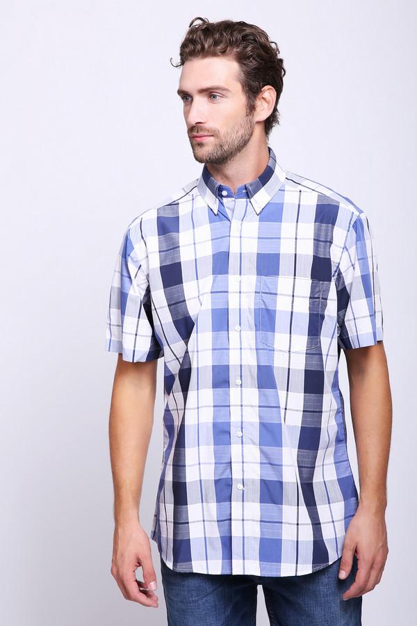Мужские рубашки с коротким рукавом PezzoКороткий рукав<br>Рубашка с коротким рукавом Pezzo. Крупная клетка для мужской моды – это уже классика. Если вы хотите, чтобы в вашем базовом гардеробе была такая популярная модель, дело за малым. Сочетание белого, синего и серого цветов – это всегда верное решение. Состав: полиэстер, хлопок, бамбук. Отличная модель на лето.