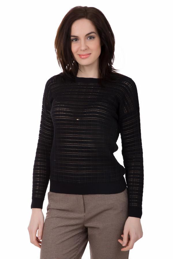 Пуловер PezzoПуловеры<br>Пуловер Pezzo черный. Легкая прозрачность этой милой модели интригует и завораживает. Загадочный и непредсказуемый, как сама женская натура, этот пуловер замечательно впишется в самые разные ансамбли – благодаря своему цвету он просто идеальный комби-партнер. Состав: хлопок плюс нейлон.