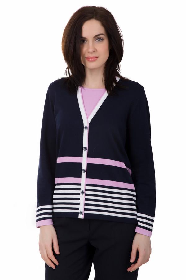 Пуловер Rabe collectionПуловеры<br>Пуловер Rabe collection темно-синий. Эта практичная и удобная модель украшена белыми и розовыми горизонтальными полосками. Функциональная застежка на пуговицы служит дополнительным украшением данного изделия. Эта вещь безупречно выглядит в самых разных ансамблях: с джинсами и деловыми брюками, различными юбками, особенно мини и миди. Состав: вискоза и полиамид.<br><br>Размер RU: 48<br>Пол: Женский<br>Возраст: Взрослый<br>Материал: вискоза 70%, полиамид 30%<br>Цвет: Разноцветный