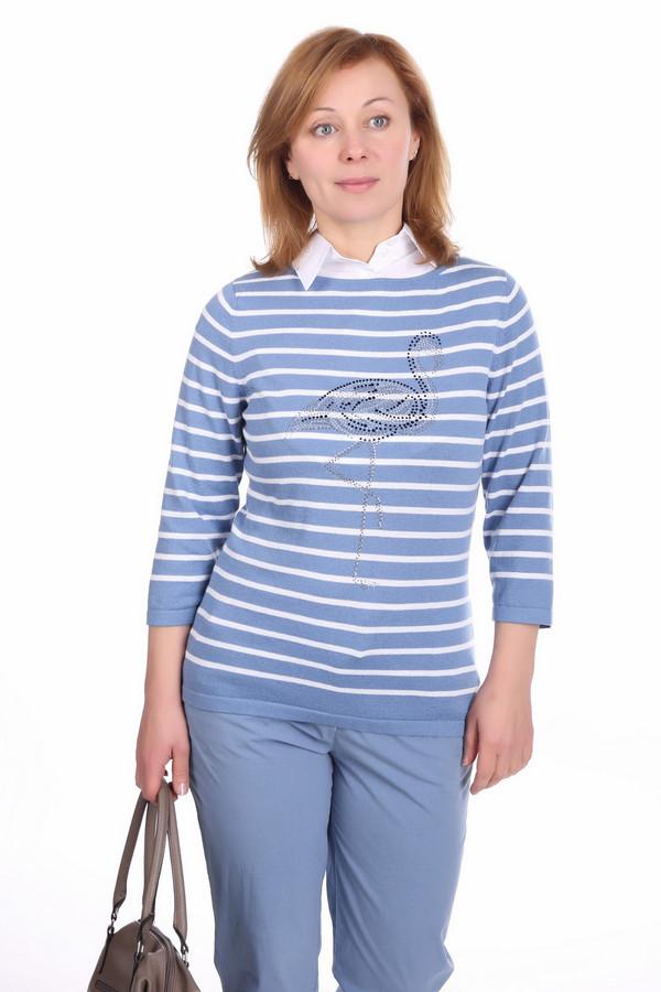 Пуловер PezzoПуловеры<br>Пуловер Pezzo бело-синий. Рисунок в полоску всегда актуален, особенно когда это сочетание таких цветов. Изображение фламинго и рукав три четверти делают это изделие особенно обворожительным. Хлопок и полиэстер – то, что нужно для вашего удобства и комфорта. Демисезонный пуловер для практичных и элегантных женщин.