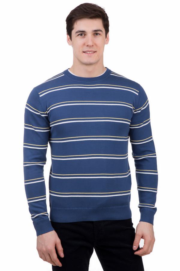 Джемпер PezzoДжемперы<br>Джемпер Pezzo мужской в полоску. Синий цвет уже давно закрепился в мужском гардеробе как один из основных. В этой модели такой фон комбинируется с тоненькими белыми и желтыми полосками. Красивая вещь для сильных и стильных Смело сочетайте ее с джинсами и строгими классическими брюками для офиса. Состав: 100%-ный хлопок. Комфорт в таком изделии вам обеспечен.<br><br>Размер RU: 56<br>Пол: Мужской<br>Возраст: Взрослый<br>Материал: хлопок 100%<br>Цвет: Разноцветный