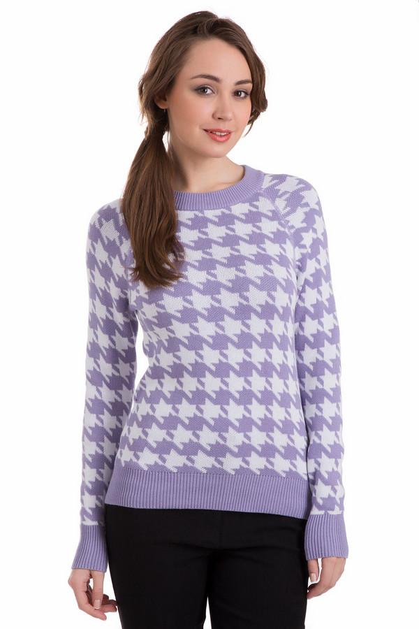 Пуловер PezzoПуловеры<br>Пуловер Pezzo сиренево-белый. Вещь яркая, уютная и очень привлекательная. Рисунок в «гусиную лапку» снова актуален: вы будете в таком пуловере просто звездой! Рекомендуем комбинировать это изделие с джинсами и брюками, а также однотонными юбками. Сиреневые резинки по краям изделия чудесно оттеняют фантазийный принт.<br><br>Размер RU: 46<br>Пол: Женский<br>Возраст: Взрослый<br>Материал: хлопок 60%, вискоза 40%<br>Цвет: Белый