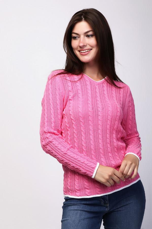 Пуловер PezzoПуловеры<br>Платье Pezzo розовый. Вещь яркая и неординарная. Такой оттенок очень женственен, в этом пуловере вы неизменно будете ощущать себя просто восхитительно! Рисунок в полоску по всей поверхности изделия делает его рельефным и интересным. Белые отделочные полоски вокруг заостренного выреза горловины, внизу рукавов и лифа освежают весь образ, делая его еще более праздничным и нетривиальным. Состав: вискоза, хлопок.
