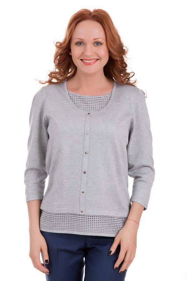 Пуловер Rabe collectionПуловеры<br>Пуловер Rabe collection серый. Отличный выбор для дам, ценящих стиль и необычные яркие детали. В этом пуловере прекрасно все, но особенно привлекает взгляд декор – ажурная сеточка по низу модели и в вырезе горловины. Быть привлекательной и оригинальной теперь просто как никогда. Застежка на кнопки спереди – еще одна составляющая успеха этой модели. Состав: вискоза плюс полиамид.<br><br>Размер RU: 48<br>Пол: Женский<br>Возраст: Взрослый<br>Материал: вискоза 70%, полиамид 30%<br>Цвет: Серый