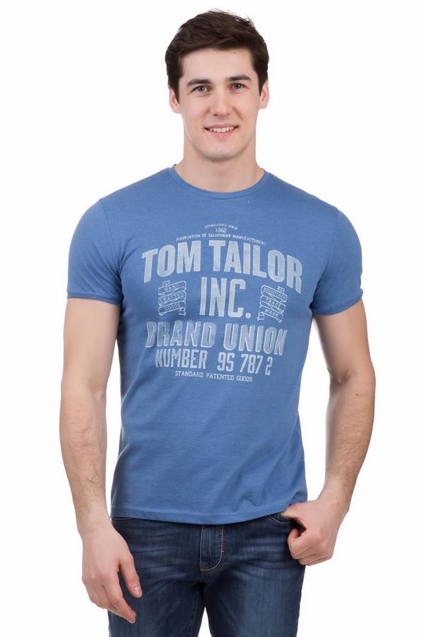 Футболкa Tom TailorФутболки<br>Футболкa Tom Tailor синяя. Безупречная по своему удобству и по красоте модель. Крупный принт с надписью на английском спереди этой модели отлично дополнит ваш образ. Вместе с джинсами такая футболка будет выглядеть еще ярче и актуальнее. Состав: хлопок и полиэстер. Такая модель незаменима в базовом мужском гардеробе для лета.