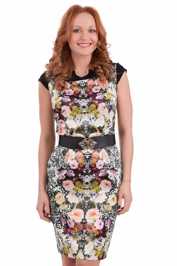 Платье Joseph RibkoffПлатья<br>Платье Joseph Ribkoff разноцветное. Чёрный, серый, белый, розовый, оранжевый, жёлтый – все эти цвета выглядят в таком исполнении очень гармонично. Сочетание монохромного рисунка и ярких цветочных мотивов – это именно то, что покоряет в данном изделии с первого взгляда. Невозможно устоять и перед его декором: это металлическое украшение возле выреза горловины и оригинальный пояс.<br><br>Размер RU: 44<br>Пол: Женский<br>Возраст: Взрослый<br>Материал: полиамид 45%, хлопок 50%, спандекс 5%<br>Цвет: Разноцветный