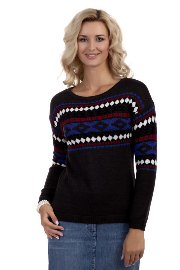 Пуловер PezzoПуловеры<br>Теплый женский пуловер Pezzo представлен в двух цветах, коричневом и черном. Изделие дополнено круглым вырезом и длинными рукавами. Модель дополнена ярким геометрическим рисунком.<br><br>Размер RU: 46<br>Пол: Женский<br>Возраст: Взрослый<br>Материал: шерсть 50%, акрил 50%<br>Цвет: Разноцветный
