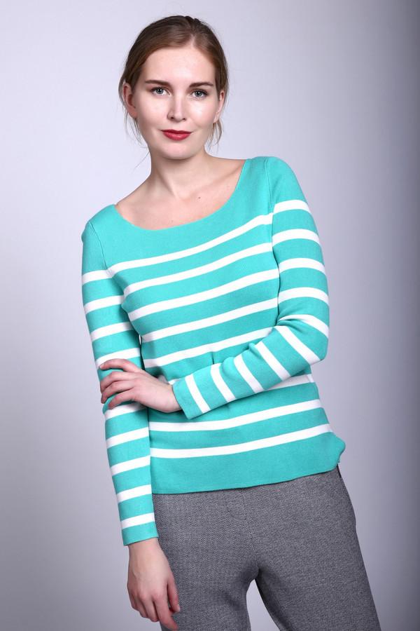 Пуловер PezzoПуловеры<br>Пуловер Pezzo бело-голубой. Это изделие в полоску выглядит стильно и лаконично. Однотонная кокетка великолепно оттеняет основную часть изделия с полосатым рисунком. Обращает на себя внимание актуальный крой пуловера: задняя часть чуть длиннее, чем передняя, по бокам – небольшие разрезы. Состав: эластан, полиамид, вискоза. Идеально сочетается пуловер с брюками и юбками разных фасонов и стилей.
