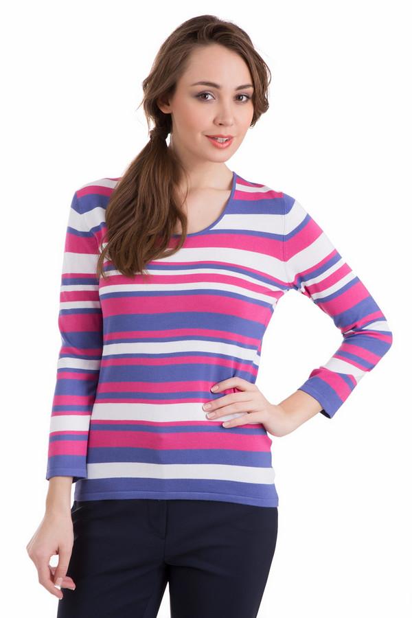 Пуловер PezzoПуловеры<br>Пуловер Pezzo разноцветный. Полосатый и яркий, он не оставит никого равнодушным! Горизонтальные полоски и округлый вырез горловины – отменный выбор для женщины, которая хочет быть в тренде в любое время года. Сочетание белого, ярко-розового и сиреневого цветов – очень выигрышно. Демисезонная вещь из полиамида и вискозы.<br><br>Размер RU: 52<br>Пол: Женский<br>Возраст: Взрослый<br>Материал: полиамид 19%, вискоза 81%<br>Цвет: Разноцветный