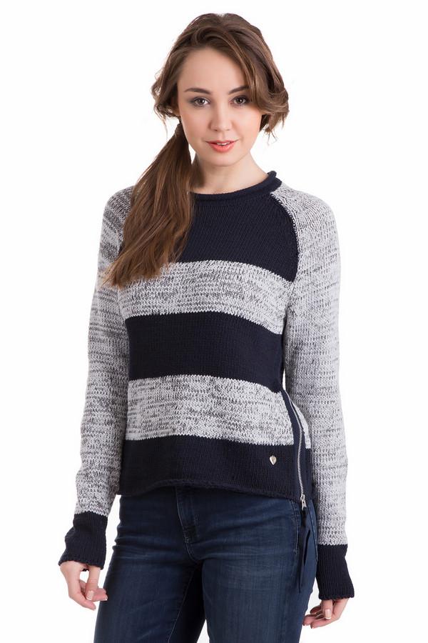Пуловер PezzoПуловеры<br>Пуловер Pezzo черно-серый. Сочетание этих двух цветов - уже классика. И это неудивительно, редкие комбинации могут выглядеть столь строго и благородно. Все внимание – на крой. Молния сбоку лифа изделия и маленькая серебристая нашивка в форме сердечка – эти черты делают нашу модель еще более притягательной. Состав: полиэстер, хлопок.