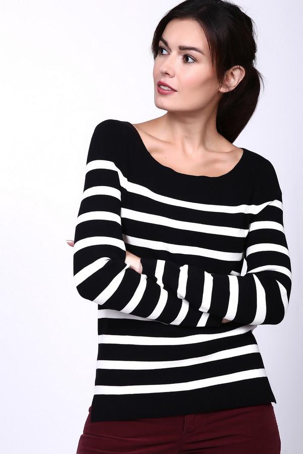 Пуловер PezzoПуловеры<br>Полосатый женский пуловер Pezzo черно-белого цвета станет отличным выбором на каждый день. Широкие черные полоски зрительно сужают фигуру, а узкие белые притягивают к себе внимание. Вырез лодочкой открывает изящные ключицы. Изготовлен из вискозы, полиамида и эластана. Наиболее удобен в носке осенью и весной.