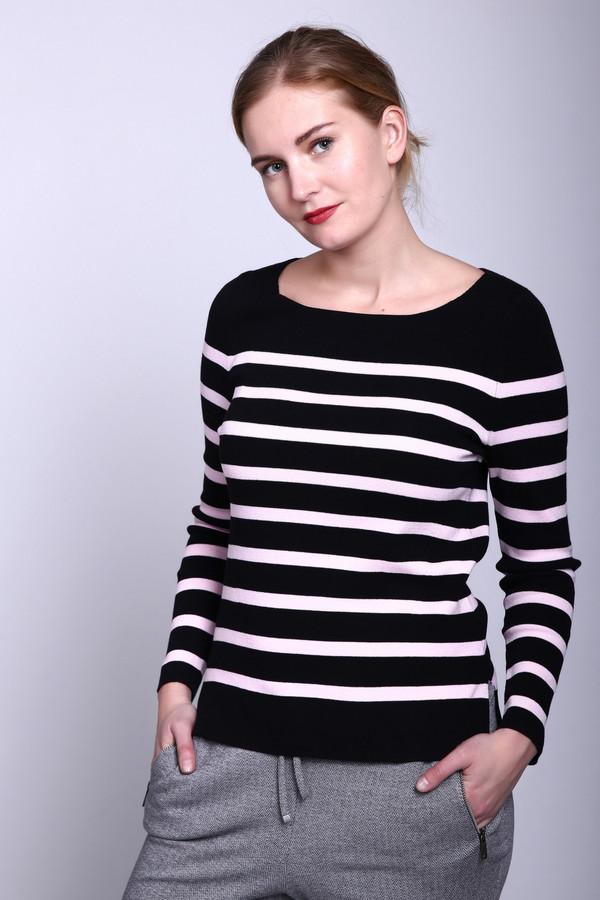 Пуловер PezzoПуловеры<br>Пуловер Pezzo черно-розовый. Горизонтальные полоски на этом пуловере, выполненные из пряжи такого романтичного розового цвета, делают его по-настоящему бесподобным. Сочетание контрастных цветов – всегда кстати. Такая комбинация делает изделие ярче и привлекательнее. Состав пряжи: полиамид, эластан, вискоза. Пуловер с однотонной кокеткой и округлым вырезом горловины – лучшее решение для офиса.